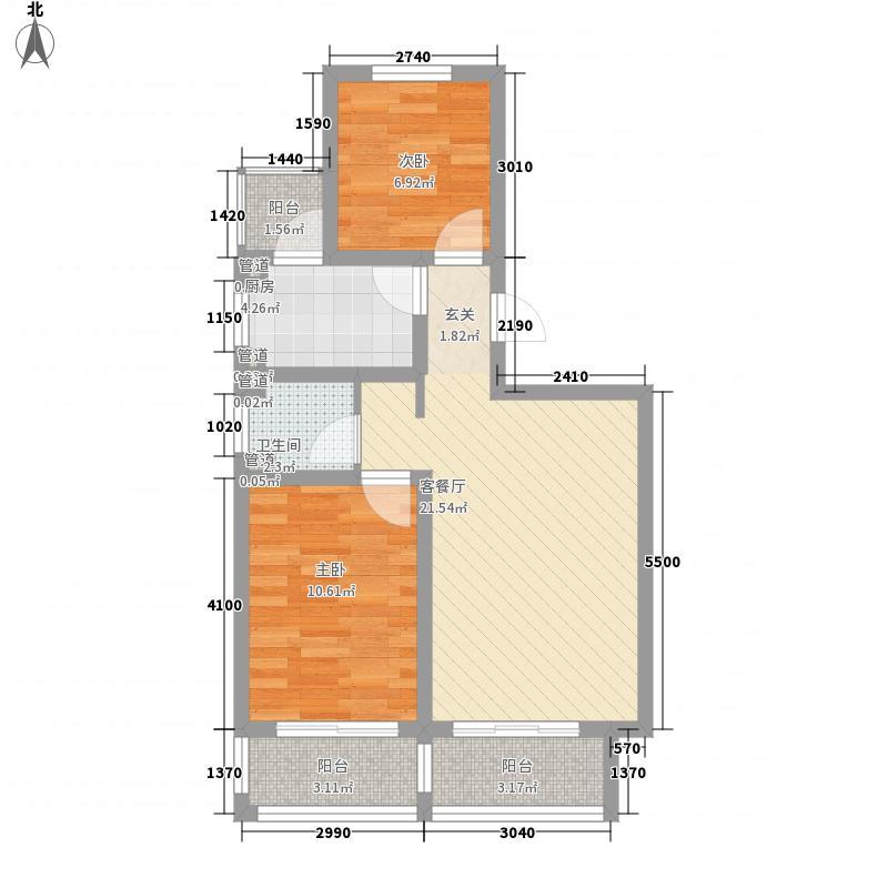 嘉兴花园83.44㎡h户型2室2厅1卫1厨