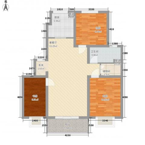 香缇郡3室1厅1卫1厨116.00㎡户型图