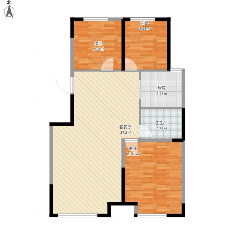 中海城B1中间户3室2厅1卫1厨面积104㎡