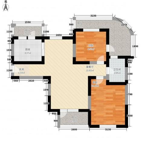 新兴骏景园2室1厅1卫1厨87.00㎡户型图