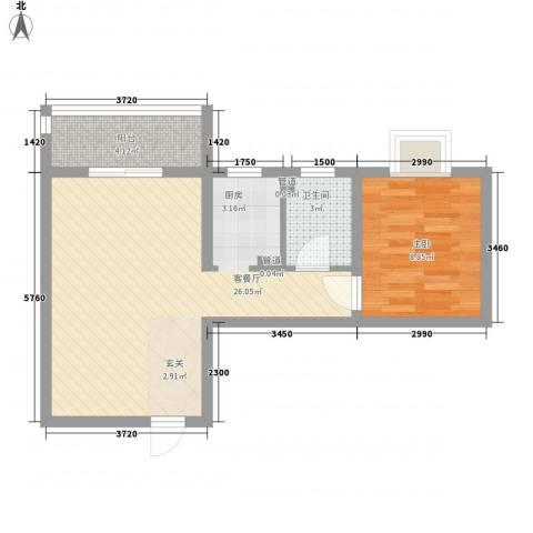 海�印象城1室1厅1卫0厨61.00㎡户型图