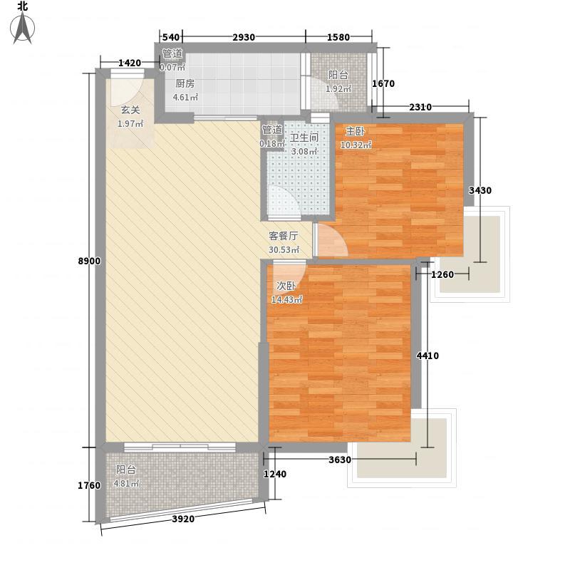 香江紫钻一期1栋B1标准层户型2室2厅1卫1厨