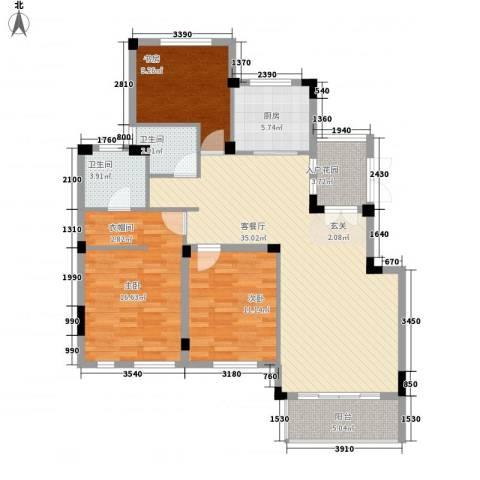 蓉湖山水3室1厅2卫1厨132.00㎡户型图
