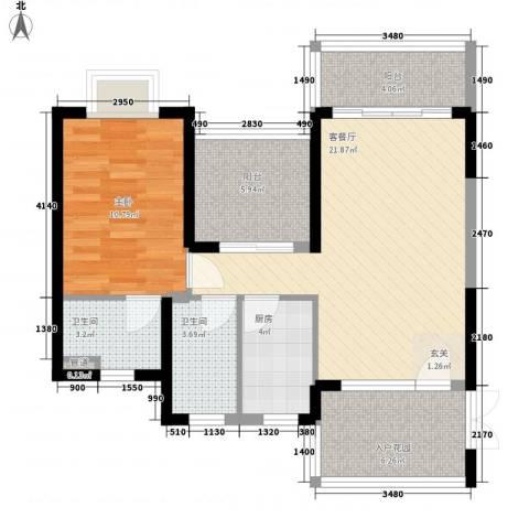 碧海蓝天三期1室1厅2卫1厨87.00㎡户型图