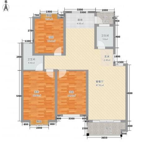 东花园一村3室1厅2卫0厨121.36㎡户型图
