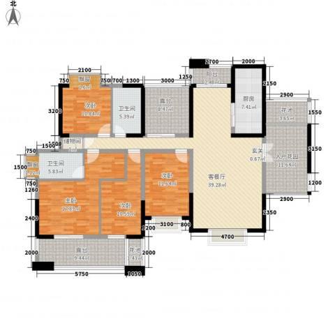 省警校住宅小区4室1厅2卫1厨212.00㎡户型图