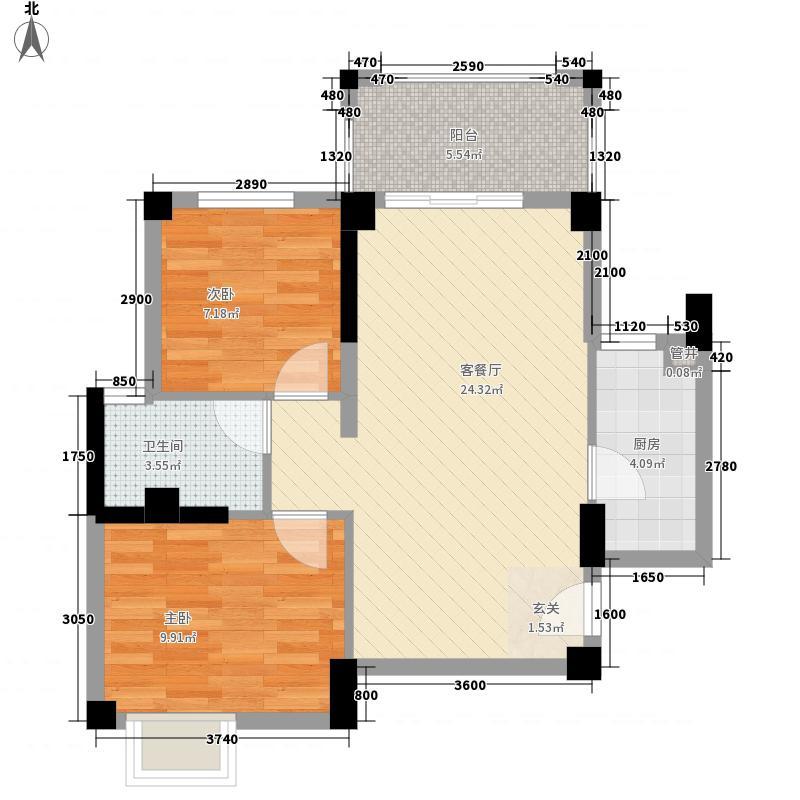杏北新城锦园居住区71.56㎡R1型户型2室1厅1卫1厨