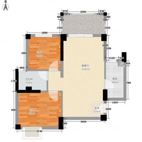 杏北新城锦园居住区2室1厅1卫1厨72.00㎡户型图