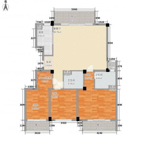 杉杉苑3室1厅2卫1厨166.00㎡户型图
