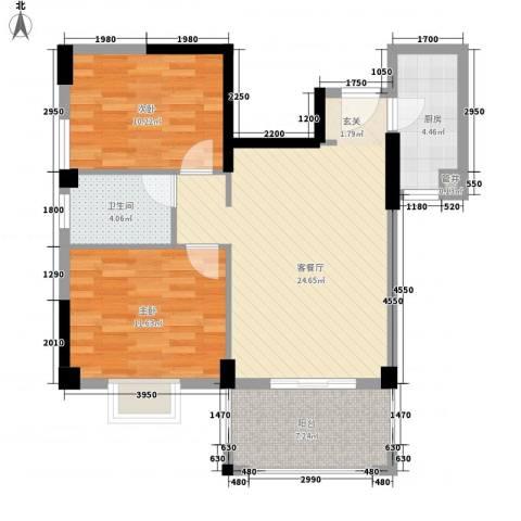杏北新城锦园居住区2室1厅1卫1厨65.00㎡户型图