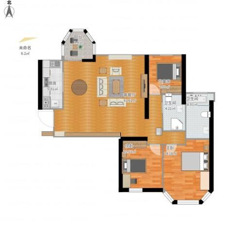 唐程御品3室1厅2卫1厨128.00㎡户型图