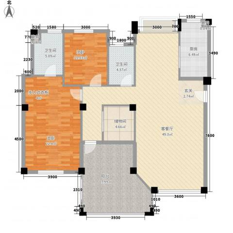国贸金门湾2室1厅2卫1厨133.14㎡户型图