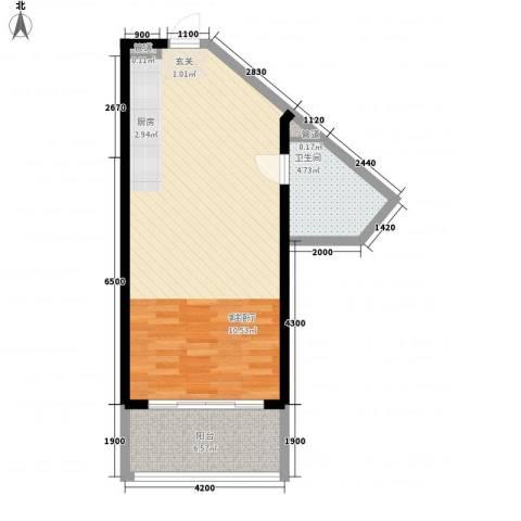 博鳌海御1厅1卫0厨68.00㎡户型图