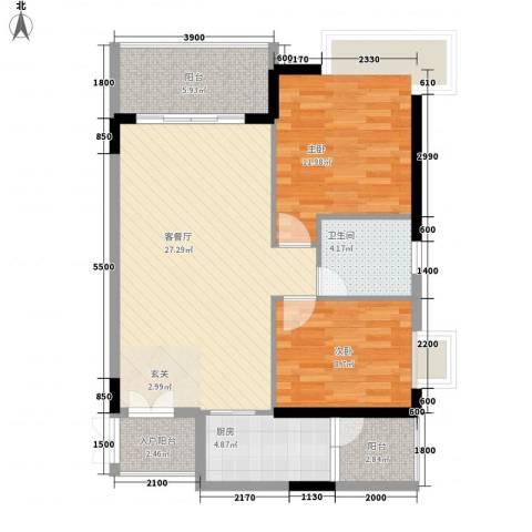 东方豪苑二期星钻2室1厅1卫1厨85.00㎡户型图