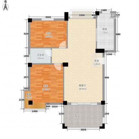 国贸金门湾2室1厅1卫1厨101.38㎡户型图