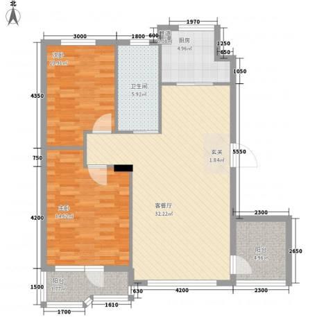 开世嘉年2室1厅1卫1厨109.00㎡户型图