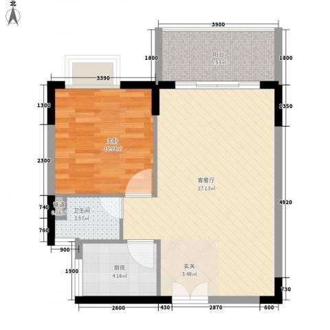 东方豪苑二期星钻1室1厅1卫1厨63.00㎡户型图