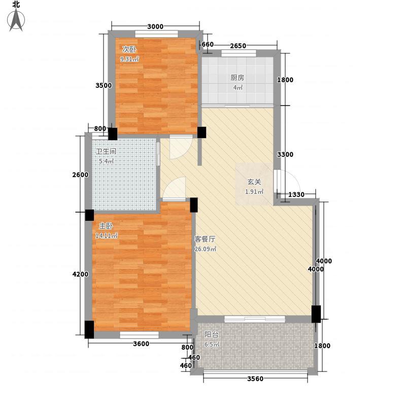 时间公园蝶园三期81.00㎡J户型2室2厅1卫1厨