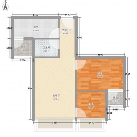 城果2室1厅1卫1厨65.00㎡户型图