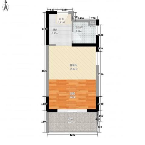 东方豪苑二期星钻1厅1卫0厨42.00㎡户型图