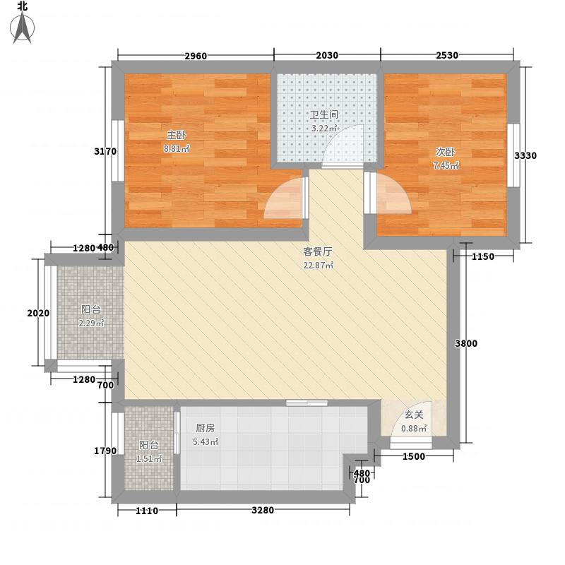 远洋润园73.00㎡B户型2室1厅1卫1厨
