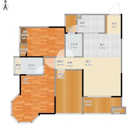 元合悠哉悠宅2室1厅2卫1厨127.00㎡户型图