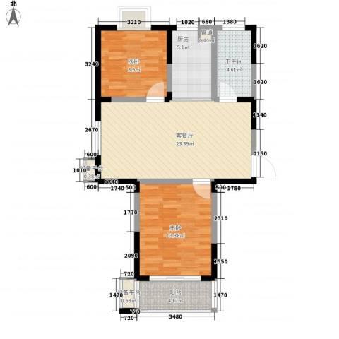 盛世翡翠2室1厅1卫1厨88.00㎡户型图
