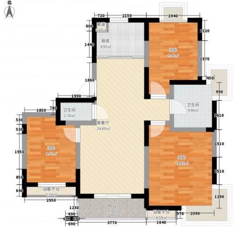 盛世翡翠3室1厅2卫1厨110.00㎡户型图
