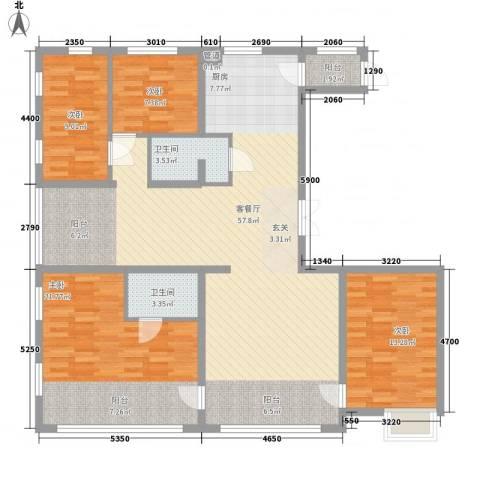 盟科视界4室1厅2卫0厨127.00㎡户型图
