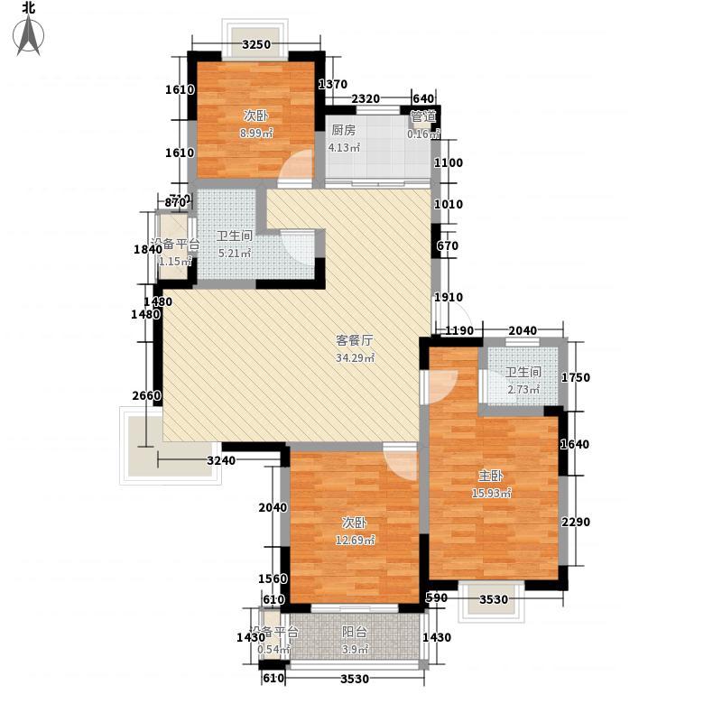 盛世翡翠130.00㎡2期3号楼户型G1户型3室2厅2卫