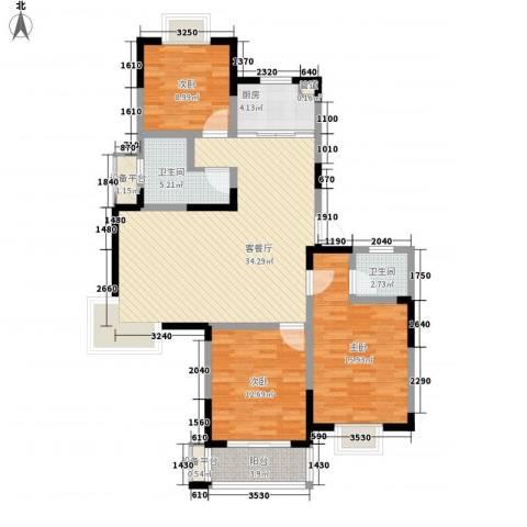 盛世翡翠3室1厅2卫1厨130.00㎡户型图
