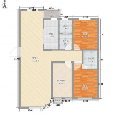 慧谷阳光2室1厅2卫1厨130.00㎡户型图