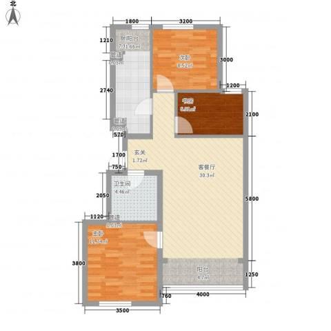 利通花园3室1厅1卫1厨97.00㎡户型图