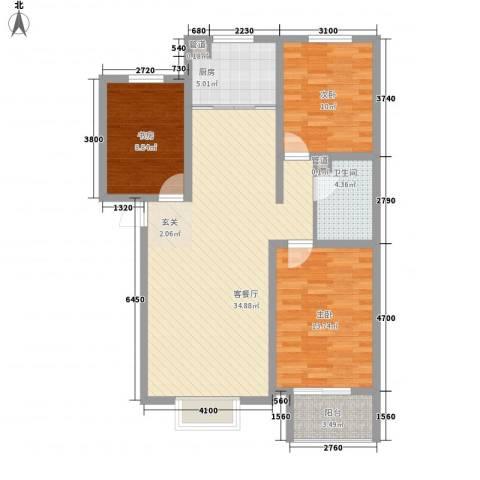 北部时光3室1厅1卫1厨115.00㎡户型图