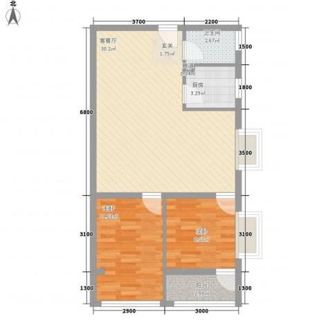 三亚万峰花园2室1厅1卫1厨83.00㎡户型图