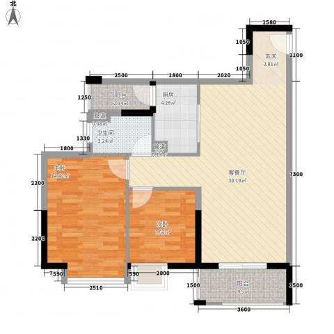 GOGO Park万荟时代2室1厅1卫1厨96.00㎡户型图