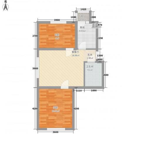 三江・紫香园2室1厅1卫1厨66.00㎡户型图