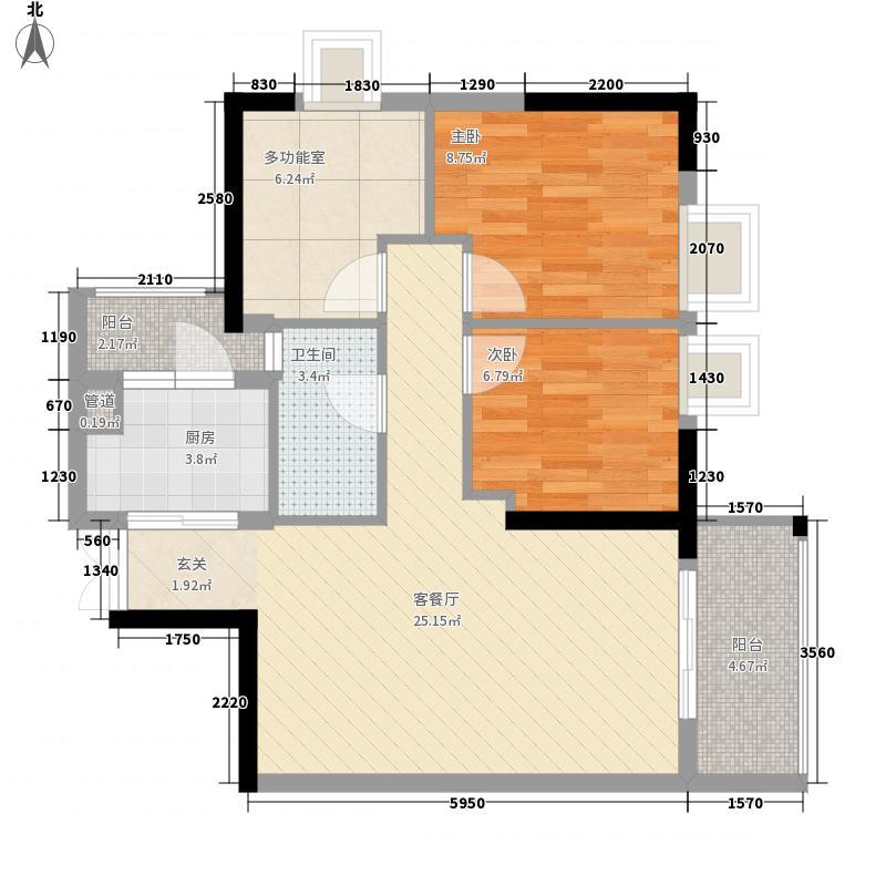 GOGO Park万荟时代户型图1-2栋02户型 3室2厅1卫1厨