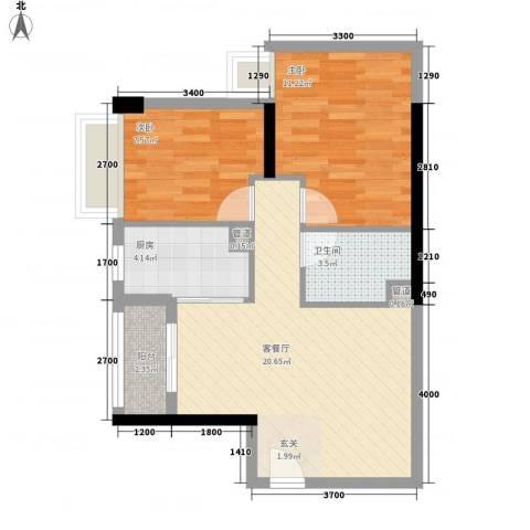 中强雅苑2室1厅1卫1厨71.00㎡户型图