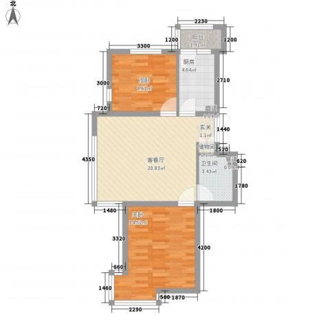 三江・紫香园2室1厅1卫1厨74.00㎡户型图