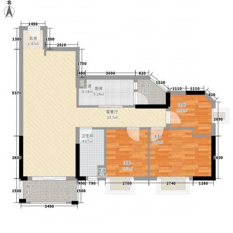 GOGO Park万荟时代3室1厅1卫1厨96.00㎡户型图
