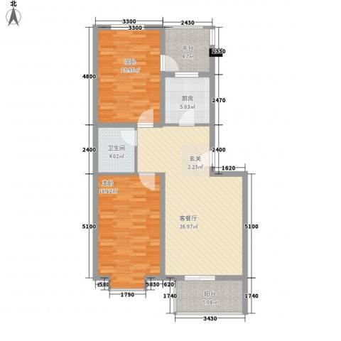 凝瑞苑2室1厅1卫1厨95.00㎡户型图