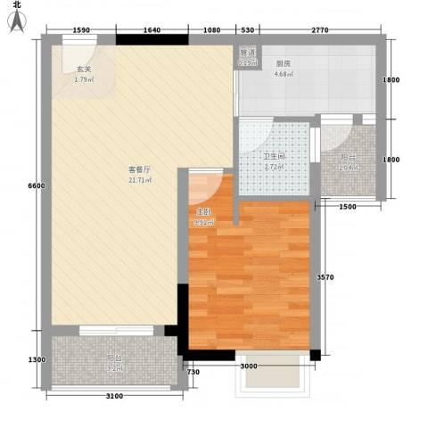 GOGO Park万荟时代1室1厅1卫1厨61.00㎡户型图