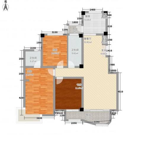 翡翠城3室1厅2卫1厨141.00㎡户型图