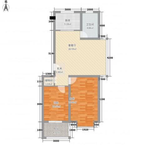 凝瑞苑2室1厅1卫1厨88.00㎡户型图