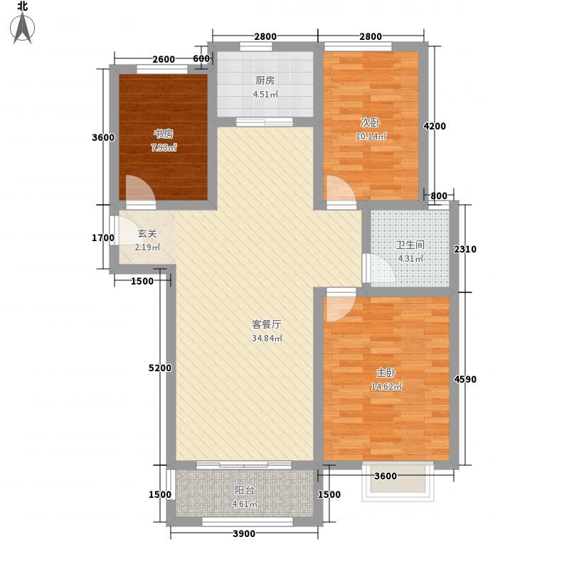 十二星城116.00㎡一期小高层A3户型3室2厅1卫1厨