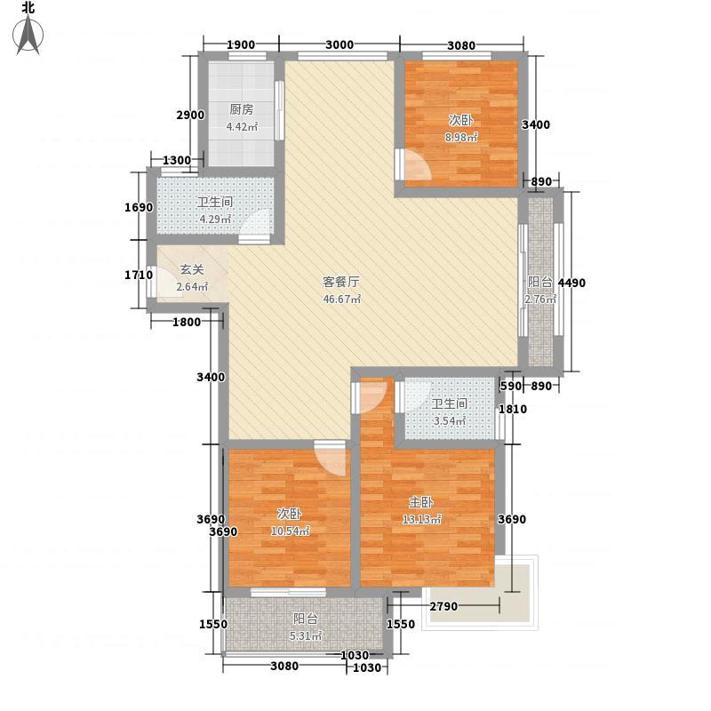 十二星城14.00㎡一期小高层C3户型3室2厅2卫1厨