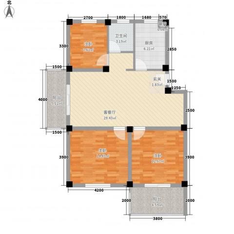 帝豪星港湾3室1厅1卫1厨85.62㎡户型图