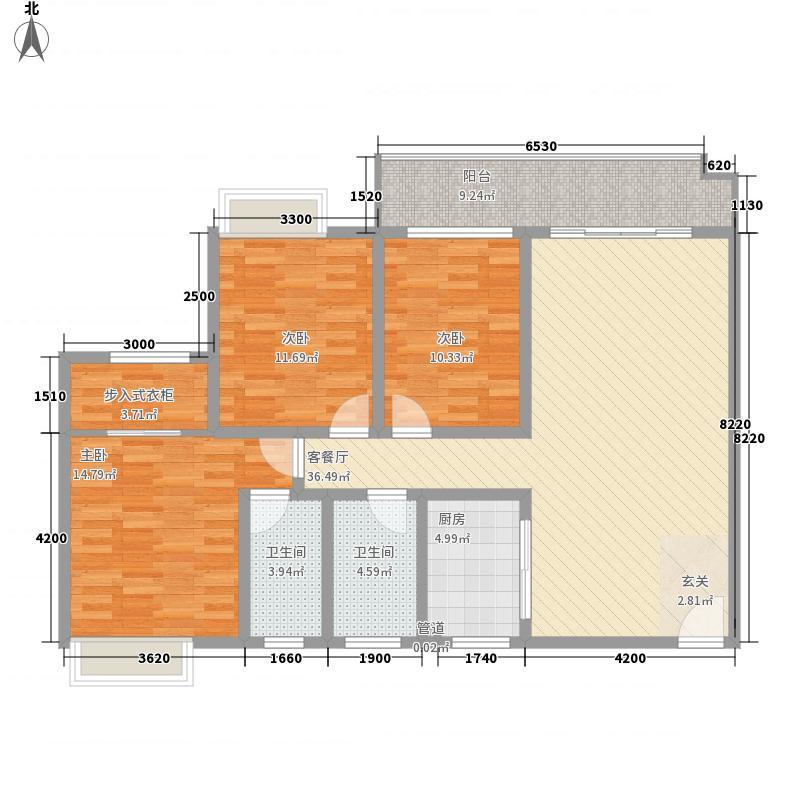 东方巴黎124.40㎡标准层1-A户型3室2厅2卫1厨