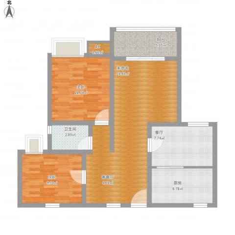 重百小区2室1厅1卫1厨82.73㎡户型图